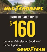Buy 4 select Goodyear or Dunlop tires and get up to an $80 Visa<sup>®</sup> Prepaid Card by mail-in rebate. Double this when using a Goodyear Credit Card. Valid between 6/1/14 to 7/31/14.