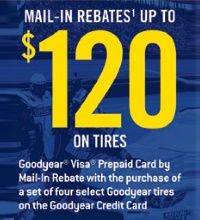 Get up to $60 mail-in rebates on select Goodyear tires. Double to $120 when purchased on a Goodyear Credit Card. Valid for purchases between 8/1/14-9/30/14.