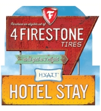 Buy 4 select Firestone tires and get a 7 night vacation getaway at one of 1,800 locations in the U.S. Valid for purchases between 1 Oct - 31 Oct, 2014.