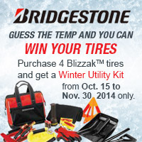 Buy 4 new Blizzak tires and if you guess the correct temp when the puck drops at the 2015 Bridgestone NHL Winter Classic<sup>&reg;</sup>, Bridgestone will reimburse you for the cost of the tires! (Up to $720 on a Bridgestone Visa<sup>&reg;</sup> Card).
