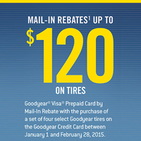 Buy 4 select Goodyear tires and get up to $120 in mail-in rebate.