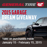 Buy 4 eligible General Tires and receive 100 entires into the Garage Dream Giveaway.