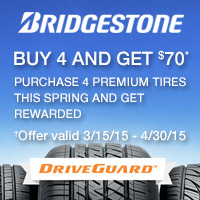 Buy 4 new qualifying Bridgestone tires and get a $70 mail-in rebate. Double to $140 if purchased with your New CFNA Credit Card Account.