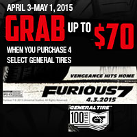 Buy four (4) qualifying General brand Passenger or Light Truck Tires  and receive up to a $70 American Express Reward Card.