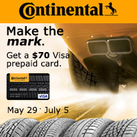Buy four select Continental passenger or light truck tires between May 29th and July 5th and receive a $70 prepaid Visa card.