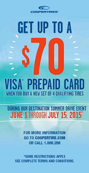 Cooper Tires Visa 174 Prepaid Card Reward Offer C Amp R Tire