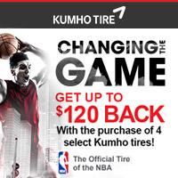 Buy 4 Kumho qualifying tires and get a chance to receive up to $120 in mail-in rebate.