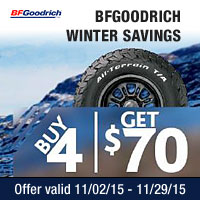 Buy a set of four select BFGoodrich<sup>®</sup> passenger or light truck tires and get up to $70 in mail-in rebate.