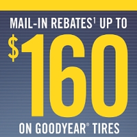 Buy a set of four (4) select Goodyear or Dunlop tires and get up to $160 in mail-in rebate.