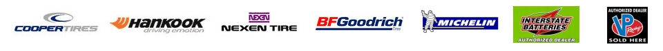 Carbone's Michelin, BF Goodrich, Cooper, Hankook, Nexen, Interstate Battteries
