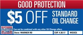 $5 Off Standard Oil Change - Warner Road