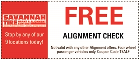 Savannah Tire and Automotive Service Coupons - Free Alignment Check