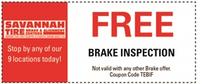 Savannah Tire and Automotive Service Coupons - Free Brake Inspection
