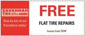 Savannah Tire and Automotive Service Coupons - Free Flat Tire Repairs