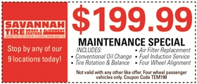 Savannah Tire Coupons - $199.99 Maintenance Special: Includes Conventional Oil Change, Tire Rotation & Balance, Air Filter Replacement, Fuel Induction Service, Four Wheel Alignment