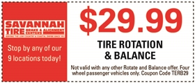 Savannah Tire and Automotive Service Coupons - $29.99 Tire Rotation & Balance