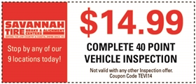 Savannah Tire and Automotive Service Coupons - $14.99 Complete 40 Point Vehicle Inspection