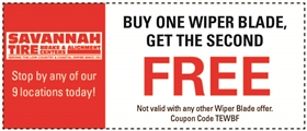 Savannah Tire and Automotive Service Coupons - Buy One Wiper Blade, Get The Second Free