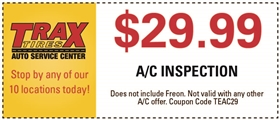 Trax Tires Automotive Service Coupons - $29.99 A/C Inspection