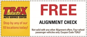 Trax Tires Automotive Service Coupons - Free Alignment Check