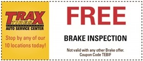 Trax Tires Automotive Service Coupons - Free Brake Inspection