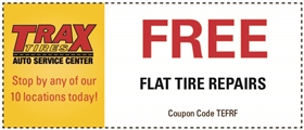 Trax Tires Automotive Service Coupons - Free Flat Tire Repairs