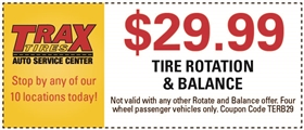 Trax Tires Automotive Service Coupons - $29.99 Tire Rotation & Balance