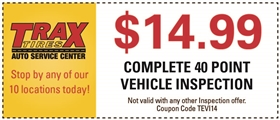 Trax Tires Automotive Service Coupons - $14.99 Complete 40 Point Vehicle Inspection