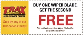 Trax Tires Automotive Service Coupons - Buy One Wiper Blade, Get The Second Free