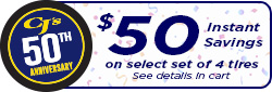 Celebrate 50 Years With $50 Instant Savings On 4 Select Tires!