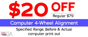 $20 Off Computer 4-Wheel Alignment. Specified Range, Before & Actual computer print out