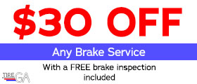 $30 Off Any Brake Service. With a FREE brake inspection included!