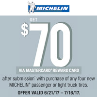 <p>Get $70 via Reward Card after submission with purchase of any 4 new MICHELIN<sup>®</sup> passenger or light truck tires from June 21 to July 16, 2017.</p>