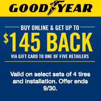 Buy Online and get up to $145 via gift card to one of five retailers.