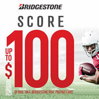 Score up to $100 when you purchase 4 qualifying Bridgestone Tires from August 10 to October 8, 2017.