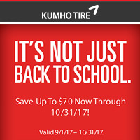 Get up to a $70 Visa Prepaid Card when you buy four (4) select Kumho tires from September 1 to October 31, 2017