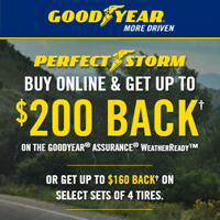 Buy 4 select Goodyear and Dunlop tires from October 1 to December 31, 2017 and get up to $200 back.