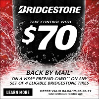 Receive a $70 reward with qualifying Bridgestone tire purchase or increase your reward to $140 by using your new or existing CFNA credit card.