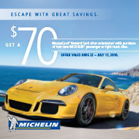 <p>Buy any set of four new MICHELIN® passenger or light truck tires at participating dealers between June 22 and July 17, 2016, and get $70 via MasterCard® Reward Card after submission!*</p>
