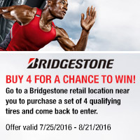 Buy 4 select Bridgestone tires and get a $70 Visa® Prepaid Card mail-in rebate. Offer is valid from July 25, 2016 to August 21, 2016.