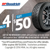 Buy 4 select BFGoodrich<sup>®</sup> tires and get a $50 MasterCard<sup>®</sup> Reward Card