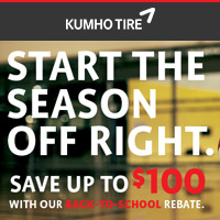 Buy 4 qualifying Kumho tires and get up to $100 mail-in rebates.