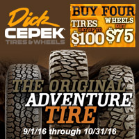 Buy 4 qualifying Dick Cepek tires from September 1 to October 31, 2016 and receive up to $100 Visa® Prepaid Card via mail-in rebate.