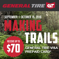 Buy 4 qualifying General tires from September 1 to October 15, 2016 and receive up to $70 Visa® Prepaid Card via mail-in rebate.