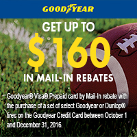 Buy 4 select Goodyear<sup>®</sup> or Dunlop<sup>®</sup> tires and get a Mail-In rebate of upto $80. Double to $160 using a Goodyear Credit Card.