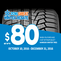 Buy 4 select Hankook Winter tires from October 10 - December 31, 2016 and get up to $80 mail-in rebate.