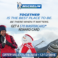 Get $70 via MasterCard<sup>®</sup> Reward Card when you buy 4 new select MICHELIN<sup>®</sup> tires between November 16 and December 12, 2016.