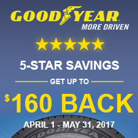 Buy 4 select Goodyear tires and get up to $160 Goodyear Visa Prepaid Card by online submission or mail-in rebate from April 1st to May 31st, 2017.