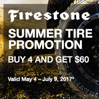 Buy 4 select Firestone tires from May 4 to July 9, 2017 and get a $60 reward.