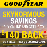 Buy 4 select Goodyear tires online and get up to $140 online or mail-in rebate from June 1st to July 31st, 2017.